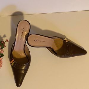 Anne Klein Brown Leather Slip On Pointed Toe Pumps